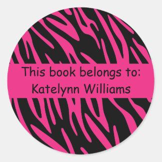 Black and Pink Zebra Stripe Sticker