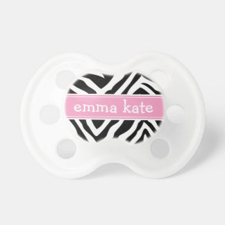 Black and Pink Zebra Stripes Monogram Pacifier