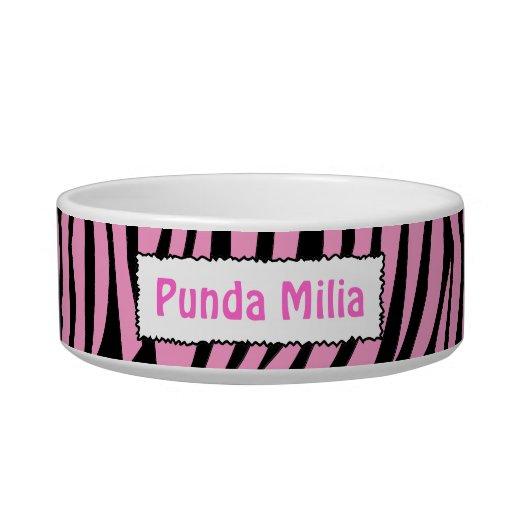Black and Pink Zebra Stripes Personalized Pet Bowl Cat Bowl