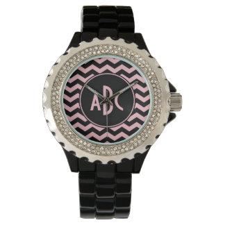Black and Pink Zigzag Monogram Wrist Watch