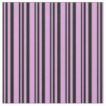 [ Thumbnail: Black and Plum Colored Striped Pattern Fabric ]