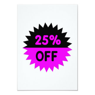 Black and Purple 25 Percent Off Custom Invitation