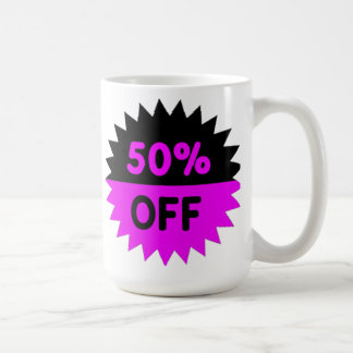 Black and Purple 50 Percent Off Coffee Mug