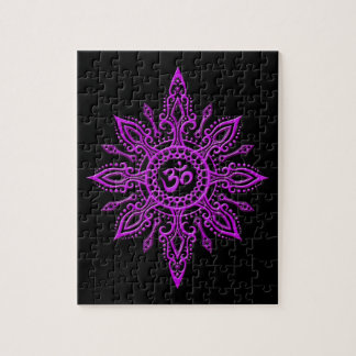 Black and Purple Aum Star Jigsaw Puzzle