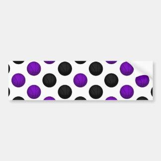 Black and Purple Basketball Pattern Car Bumper Sticker