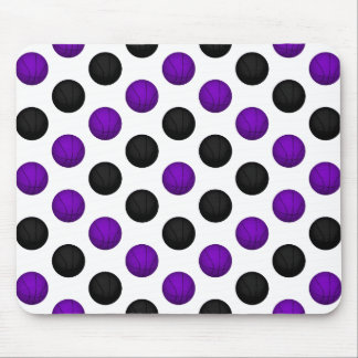 Black and Purple Basketball Pattern Mouse Pad