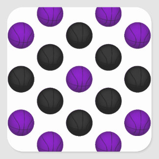 Black and Purple Basketball Pattern Square Sticker