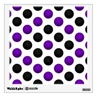 Black and Purple Basketball Pattern Wall Sticker