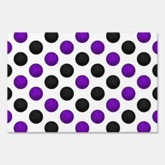 Black and Purple Basketball Pattern Lawn Signs