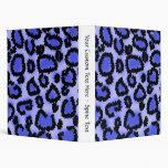 Black and Purple-Blue Leopard Print Pattern. Binders
