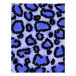 Black and Purple-Blue Leopard Print Pattern. Customized Letterhead