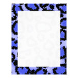 Black and Purple-Blue Leopard Print Pattern. Letterhead Template