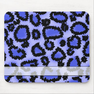 Black and Purple-Blue Leopard Print Pattern. Mouse Pad