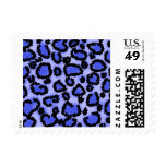 Black and Purple-Blue Leopard Print Pattern. Postage Stamps