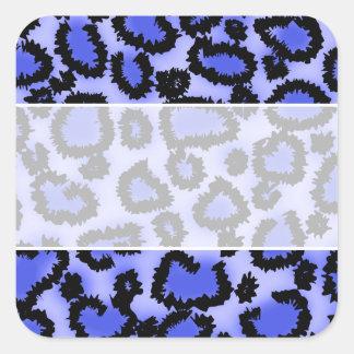 Black and Purple-Blue Leopard Print Pattern. Square Sticker