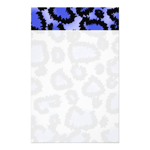 Black and Purple-Blue Leopard Print Pattern. Stationery Paper