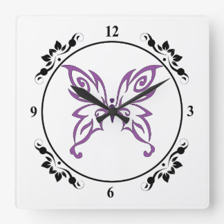 Black and Purple Butterfly Square Wall Clock