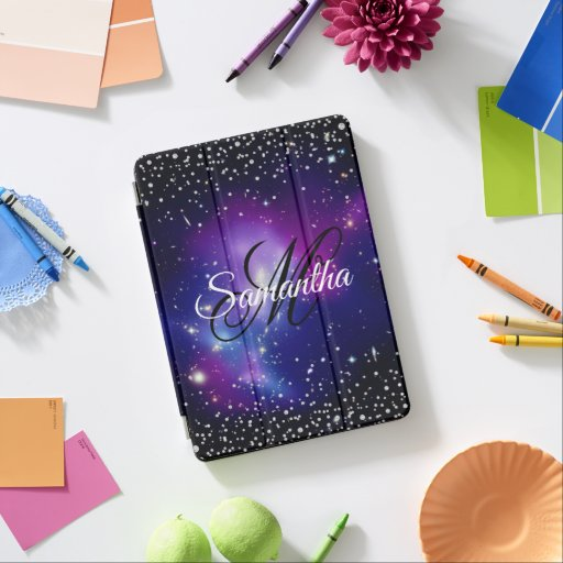 Black and Purple Celestial Faux Diamonds Monogram iPad Air Cover