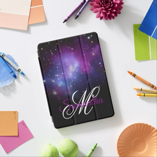 Black and Purple Celestial Ombre Monogram iPad Air Cover