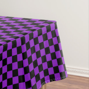 Black And Purple Checkered Tablecloth