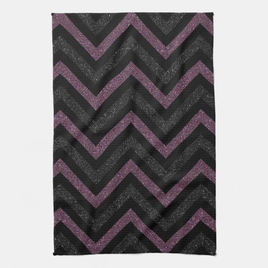 Black And White Chevron Hand Towels: Black And Purple Chevron Kitchen Towel