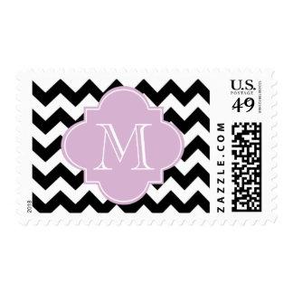 Black and Purple Chevron With Custom Monogram Postage Stamps