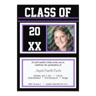 Black and Purple Class Photo Graduation Party 5x7 Paper Invitation Card