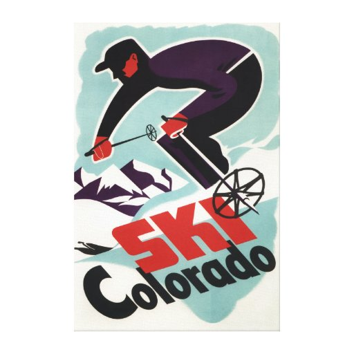 Black and Purple Clothed Skier Canvas Prints
