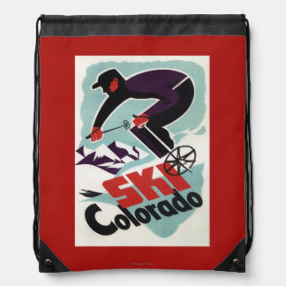 Black and Purple Clothed Skier Drawstring Backpack