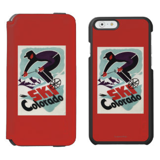 Black and Purple Clothed Skier iPhone 6/6s Wallet Case