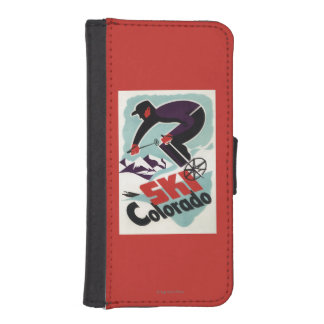 Black and Purple Clothed Skier iPhone SE/5/5s Wallet