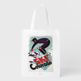 Black and Purple Clothed Skier Market Tote