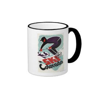 Black and Purple Clothed Skier Ringer Coffee Mug