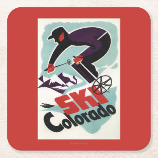 Black and Purple Clothed Skier Square Paper Coaster