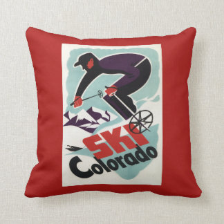 Black and Purple Clothed Skier Throw Pillow