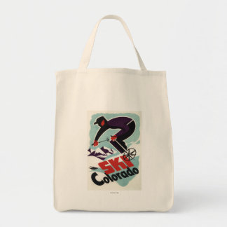 Black and Purple Clothed Skier Tote Bag