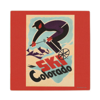 Black and Purple Clothed Skier Wooden Coaster