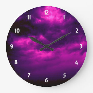 Black and Purple Cloudy Sky Clock