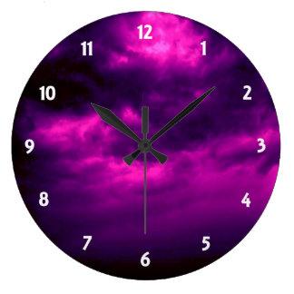 Black and Purple Cloudy Sky Clock