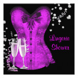 Black and Purple Corset Bachelorette Bridal Shower Personalized Announcements