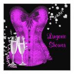 """Black and Purple Corset Bachelorette Bridal Shower 5.25"""" Square Invitation Card"""