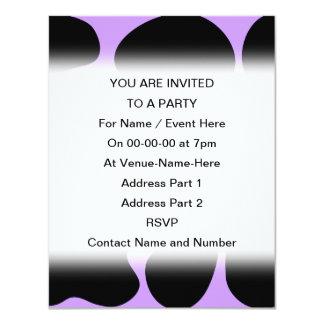 Black and Purple Cow Print Pattern. 4.25x5.5 Paper Invitation Card