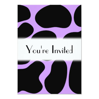 Black and Purple Cow Print Pattern. 5x7 Paper Invitation Card