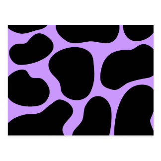 Black and Purple Cow Print Pattern. Postcard