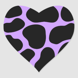 Black and Purple Cow Print Pattern. Heart Stickers