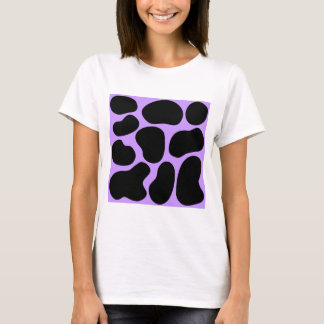 Black and Purple Cow Print Pattern. T-Shirt