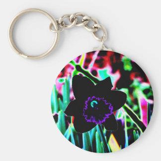 Black and Purple Daffodil Keychain