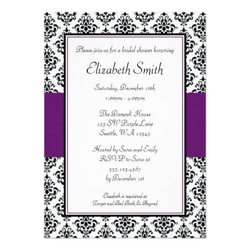Black and Purple Damask Bridal Shower Invitation