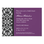 Black and Purple Damask Bridal Shower Invitation