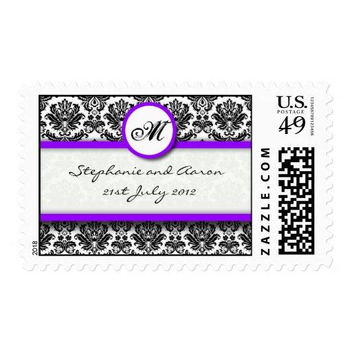 Black and Purple Damask Monogram Wedding Stamp